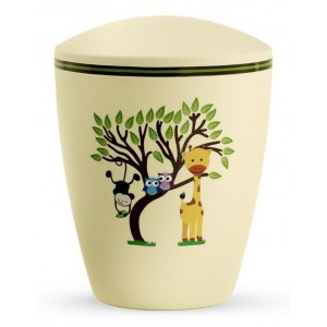 Biodegradable Cremation Ashes Urn (Infant / Child / Boy / Girl) – Yellow with Illustrated Animals